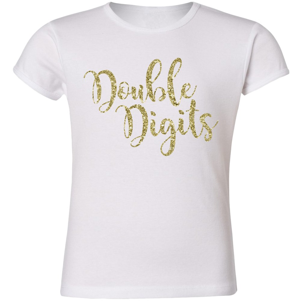 Tenth Birthday Double Digits shirt - sparkly GOLD glitter GIRLS CUT (YM (10))