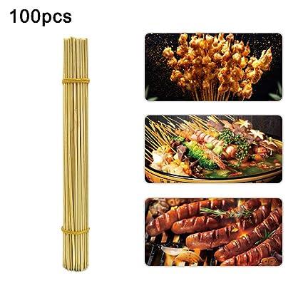 Danigrefinb 100 piezas 30 cm desechables malvaviscos bambú asado palitos barbacoa herramientas pinchos 100pcs 1#