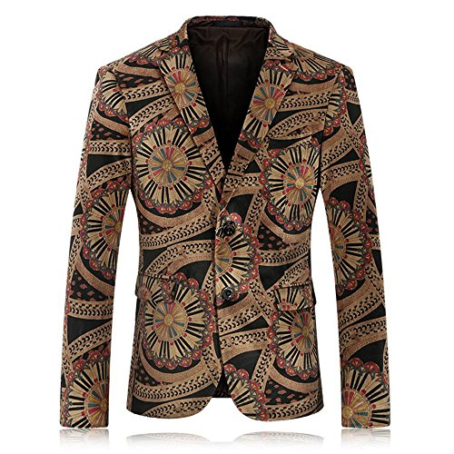 WEEN CHARM Mens Vintage Velvet Floral Printed Style Single Breasted Two Button Sport Casual Jacket (Two Button Vintage Blazer)