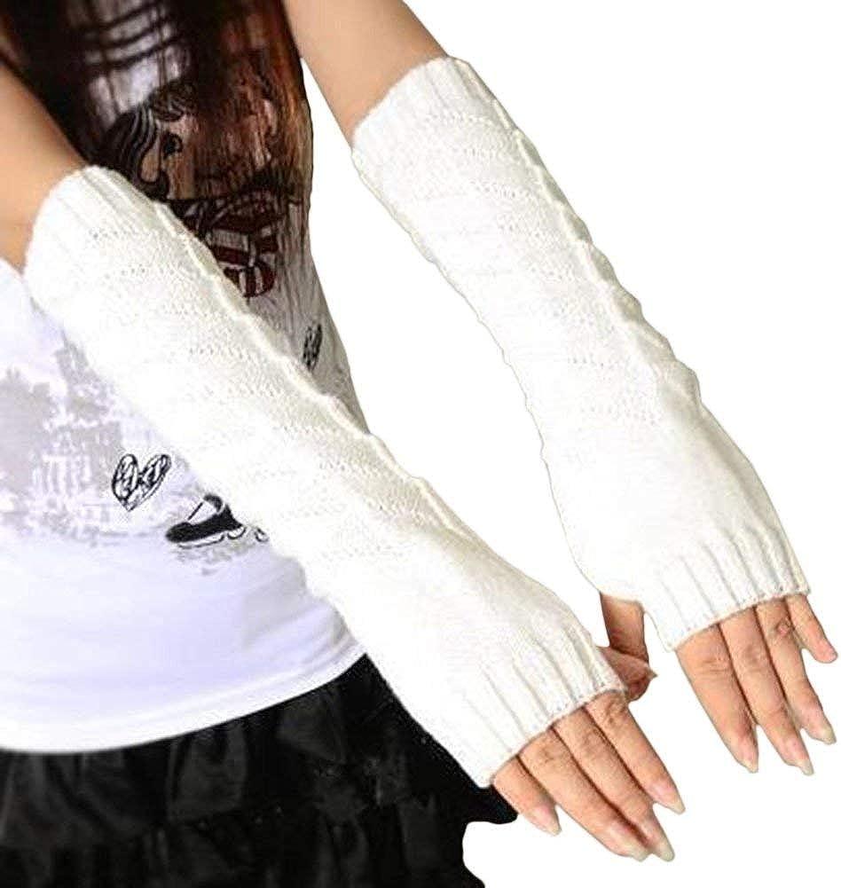 Mujer Sin Dedos Guantes Largos De Outdoor Algodón Punto Color ...