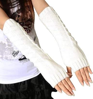 Mujer Sin Dedos Guantes Largos De Outdoor Algodón Punto Color Sólido Punto Mittens Mitones (Color : Blanco, Size : One Size): Amazon.es: Ropa y accesorios