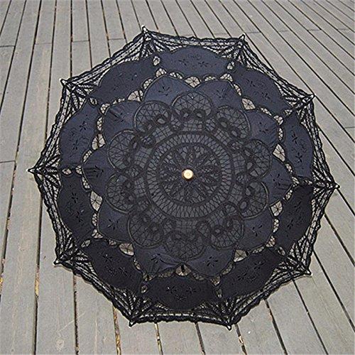 Saitec® New Fashion Lace Parasol Sun Wedding Umbrella Bridal Bride Parasols Umbrellas Sombrinha Beige Black