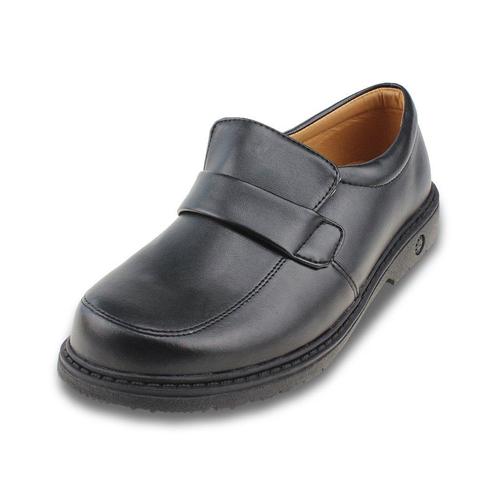 Maxu Boys PU Black Flats School Oxfords Shoe,Big Kid Size 5