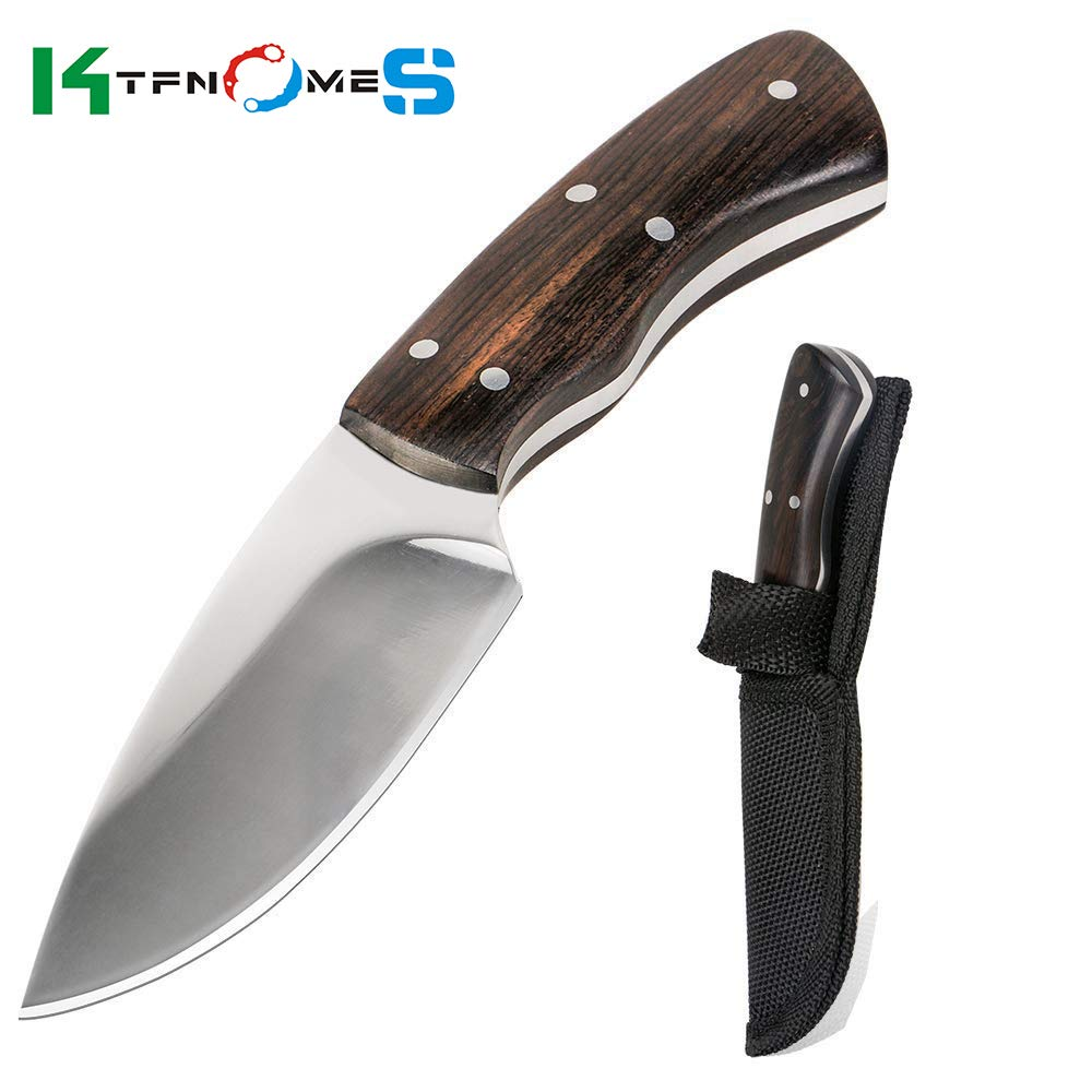 KTFNOMES Fixed Blade Knife Tactical Knife D2 Blade, Stainless Steel Handle Fixed Blade Knife for Hunting, Survival, Camping Outdoor Utility Knife with K Sheath