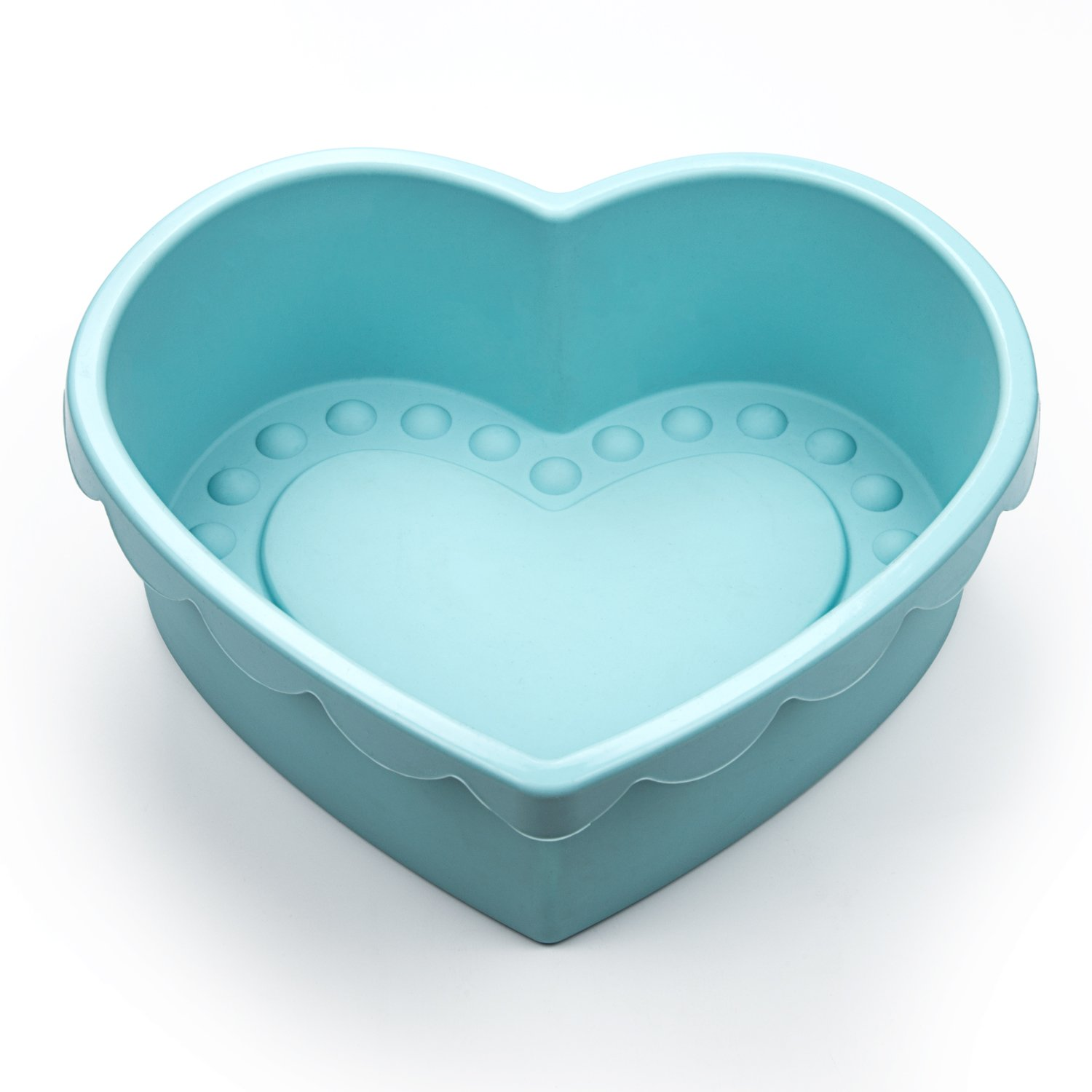 Heart Shape Silicone Baking Mold Nonstick Cake Pan 9 Inch Baking Pan Big for Cake Bread Pie Flan Tart DIY - FDA & BPA Free (9.8''x9''x2.8'') - Blue