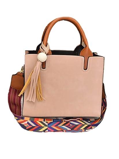 3fe56fa7bde3 Amazon.com  ORUBAG Women Tassels Satchel Tote Messenger Leather Purse  Shoulder Bag Handbag Satchel Pink Medium  Clothing
