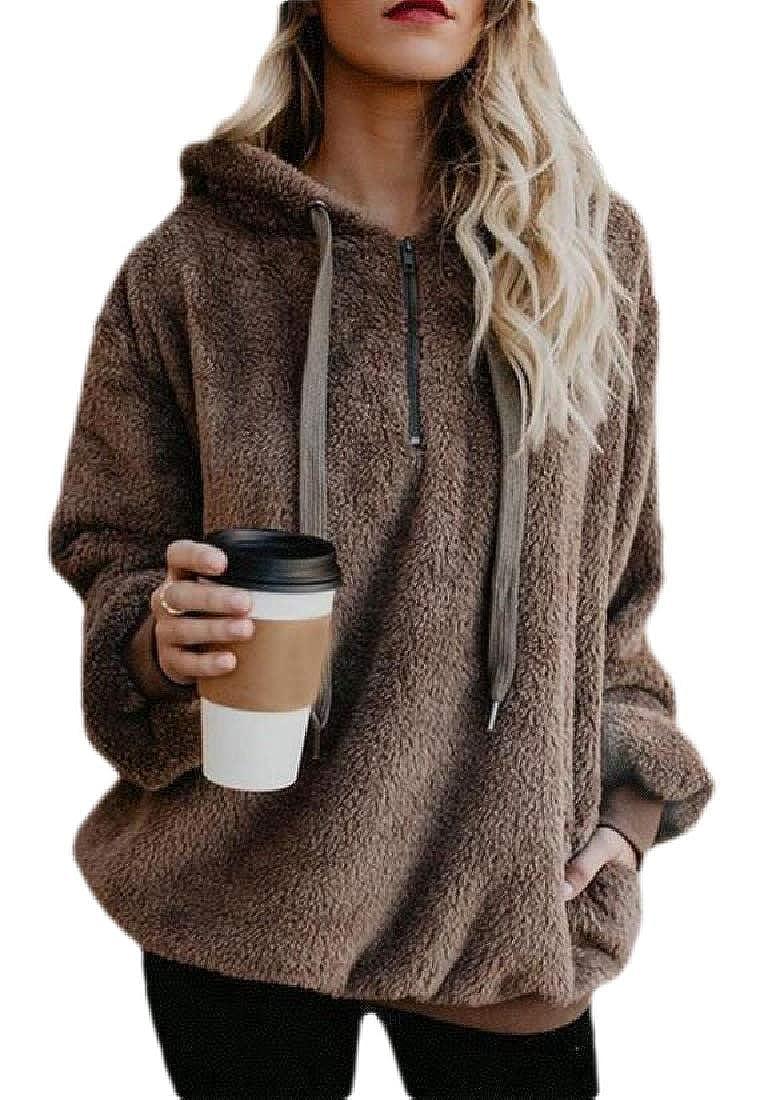 Jofemuho Womens Solid Zip Up Fuzzy Loose Plus Size Pullover Hoodie Sweatshirt Top