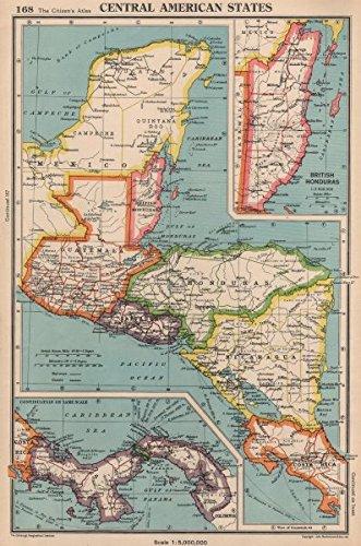 panama guatemala nicaragua costa rica british honduras 1944 old map