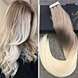 Ugeat 16 inch Two Tone Ombre Tape on Real Hair Extensions 20 Pcs Per Package Ash Blonde Color 18 Dip Dye Color 60 Light Blonde Hair Invisiable Hair Extensions