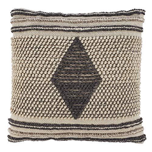 Signature Design by Ashley Ricker Throw Pillow, Gray/Cream (Cream Wool Throw)