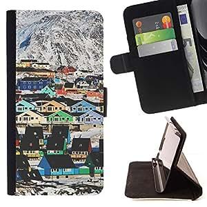 Momo Phone Case / Flip Funda de Cuero Case Cover - Montaña Casas Arquitectura colorido - MOTOROLA MOTO X PLAY XT1562