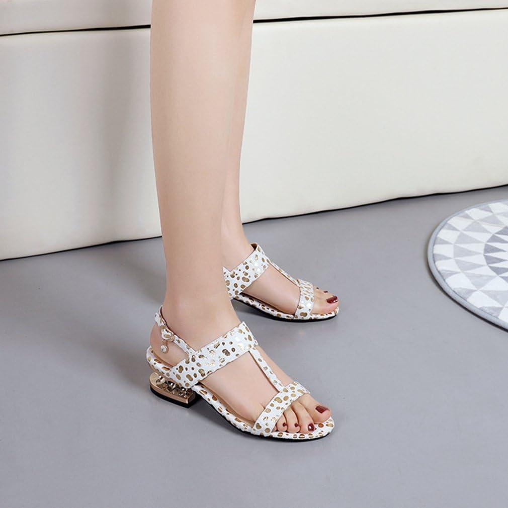 GIY Womens Glitter T-Strap Platform Leopard Heel Sandals Open Toe Sparkly Heel Slingback Dress Pump