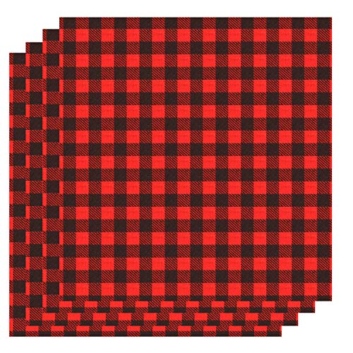Aneco 12 x 12 Inch Cloth Fabric Iron-on Buffalo Plaid 4 Sheet Red and Black Plaid Heat Transfer Sheets Adhesive Thermal Transfer