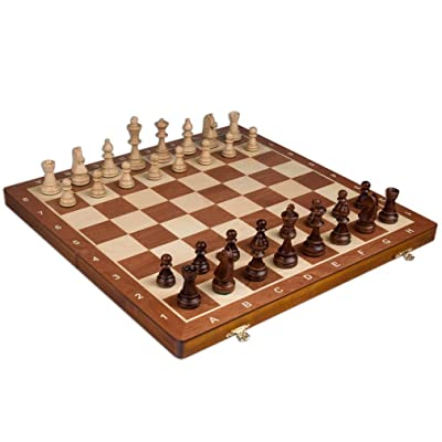 Wegiel Handmade European Professional Tournament Chess Set With Wood Case - Hand Carved Wood Chess Pieces & Storage Box To Store All The Piece: Toys & Games