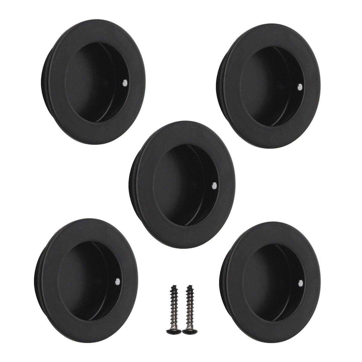 Probrico 304en acier inoxydable encastré Flush Pull Poignées rondes Diamètre 50mm et 60mm avec vis en nickel brossé Noir et couleur