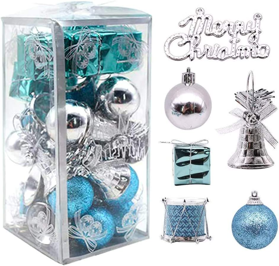LoveInUSA 32 pcs Christmas Ball Ornaments, Christmas Tree Ornaments Christmas Decorations Tree Balls for Christmas Xmas Tree (Blue & Silver)