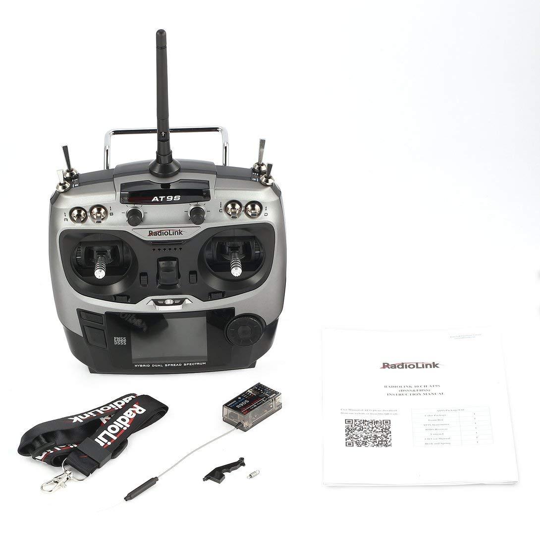 Swiftswan Rüsten Sie Radiolink AT9S 2.4G 10CH Sender-Radio mit R9DS-Empfänger DSSS & FHSS für RC Helicopter Multicopter-Starrflügelmodus 2 auf