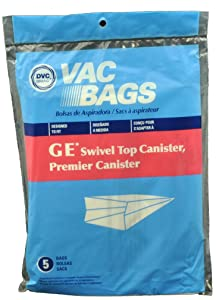 GE Swivel Top Canister Vacuum Cleaner Bags, DVC Replacement Brand, designed to fit GE, Premier & Whirlwind Swivel Top Canister Vacuum Cleaners, 5 bags in pack