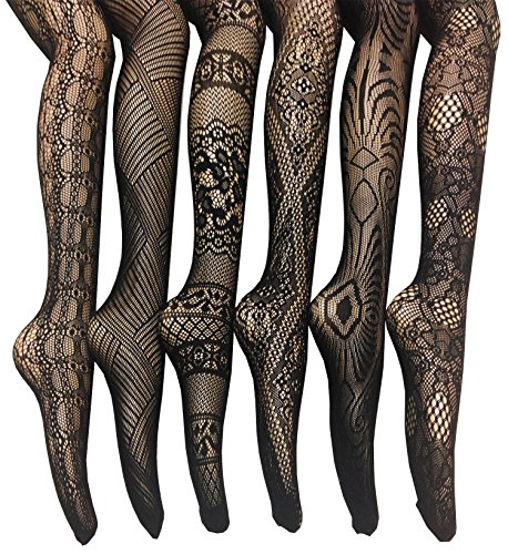 Printed Hosiery - Frenchic Fishnet Lace Stocking Tights Extended Sizes (Pack of 6) (1X/2X), Black