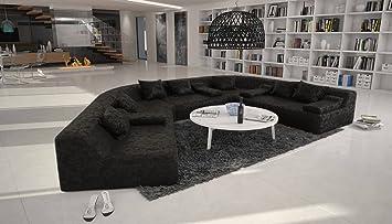 Wohnlandschaft rund  Rund-Sofa mit Bezug aus schwarzem Microfaser 410x272 cm halbrund ...