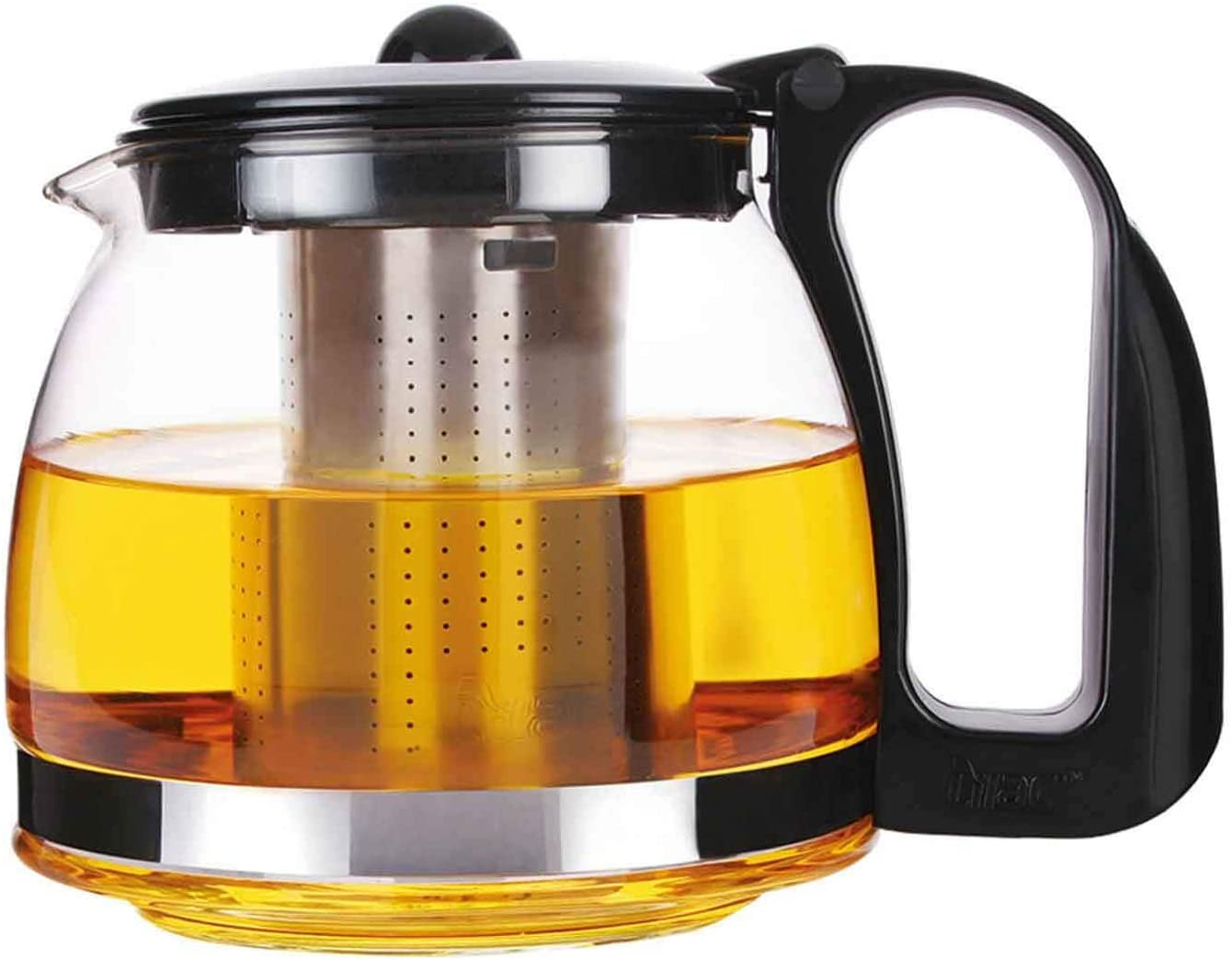 Michelino Glas Teekanne mit abnehmbare Edelstahl-Sieb Teebereiter 700 ml schwarz