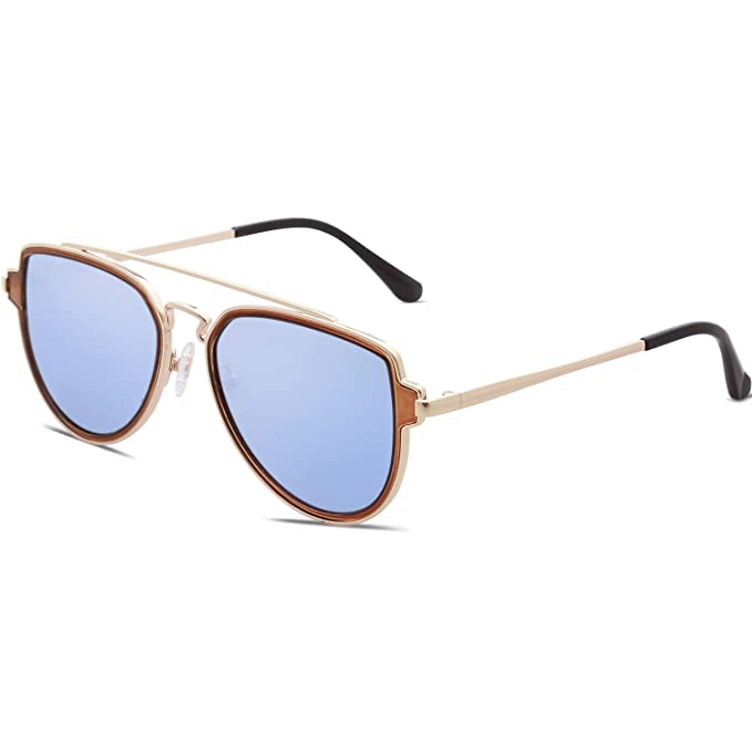 f4ac865d63ce4 SOJOS Fashion Polarized Aviator Sunglasses for Men Women Mirrored Lens  SJ1051 with Gold Frame Dusty