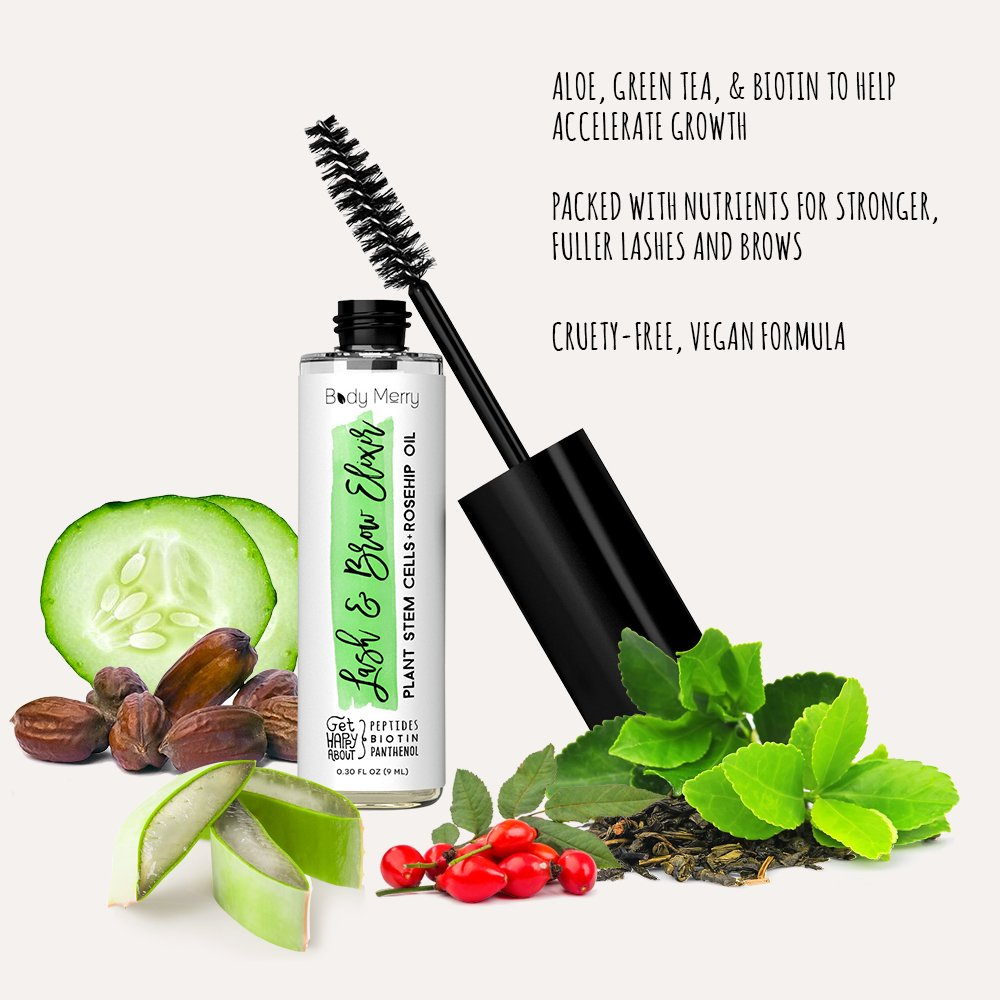 36cf4c2957a Amazon.com: Body Merry Lash & Brow Elixir - Natural serum nourishes  follicles to rapidly thicken and boost eyelash & eyebrow growth w  Hyaluronic Acid + ...