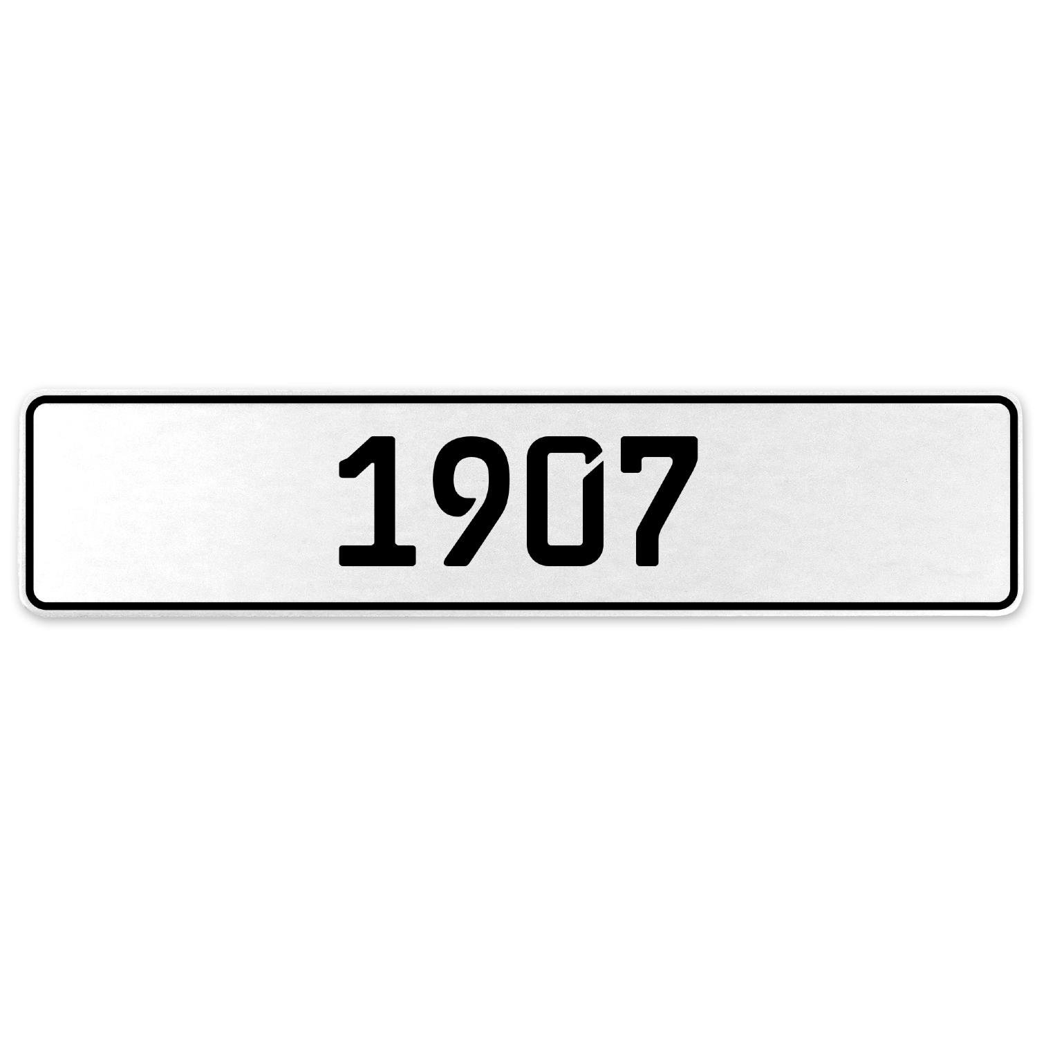 Vintage Parts 553150 1907 Year White Stamped Aluminum European License Plate