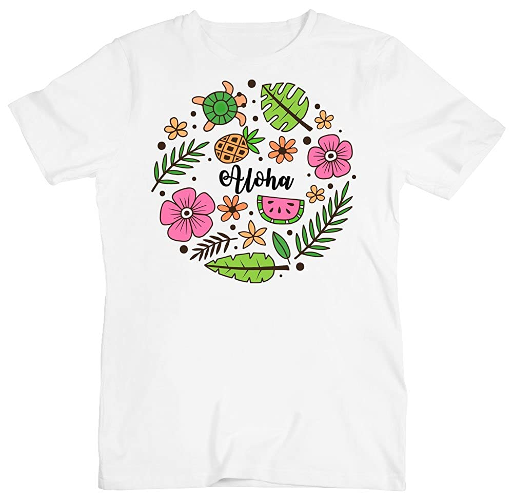 Aloha in Beautiful Hawaii Wildlife Symbols Mens T-Shirt Small White