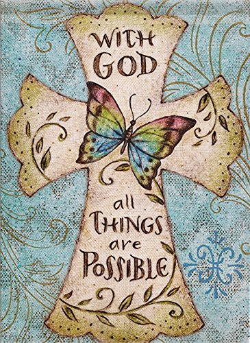Dyrenson Home Decorative Outdoor Religious Garden Flag Cross, Christian Faith House Yard Flag, with God All Things are Possible Garden Yard Decorations, Butterfly Seasonal Outdoor Flag 12.5 x 18