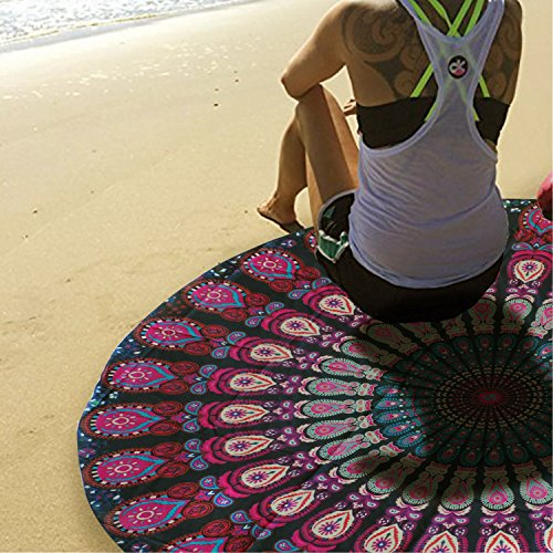 Beach Shawl Mandala Beach Tapestry Throw Popular Indian Round Roundie Tablecloth  Hippy Boho Gypsy Picnic sheet (Purple) (Couches Wrap Around Sale For)