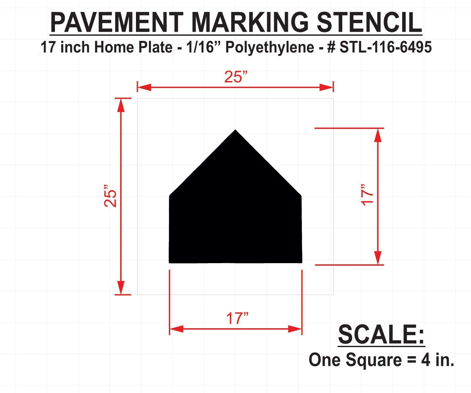 Rae Athletic Stencil, Baseball Home Plate, 17'', Low Density Polyethylene, 1 EA - STL-116-6495