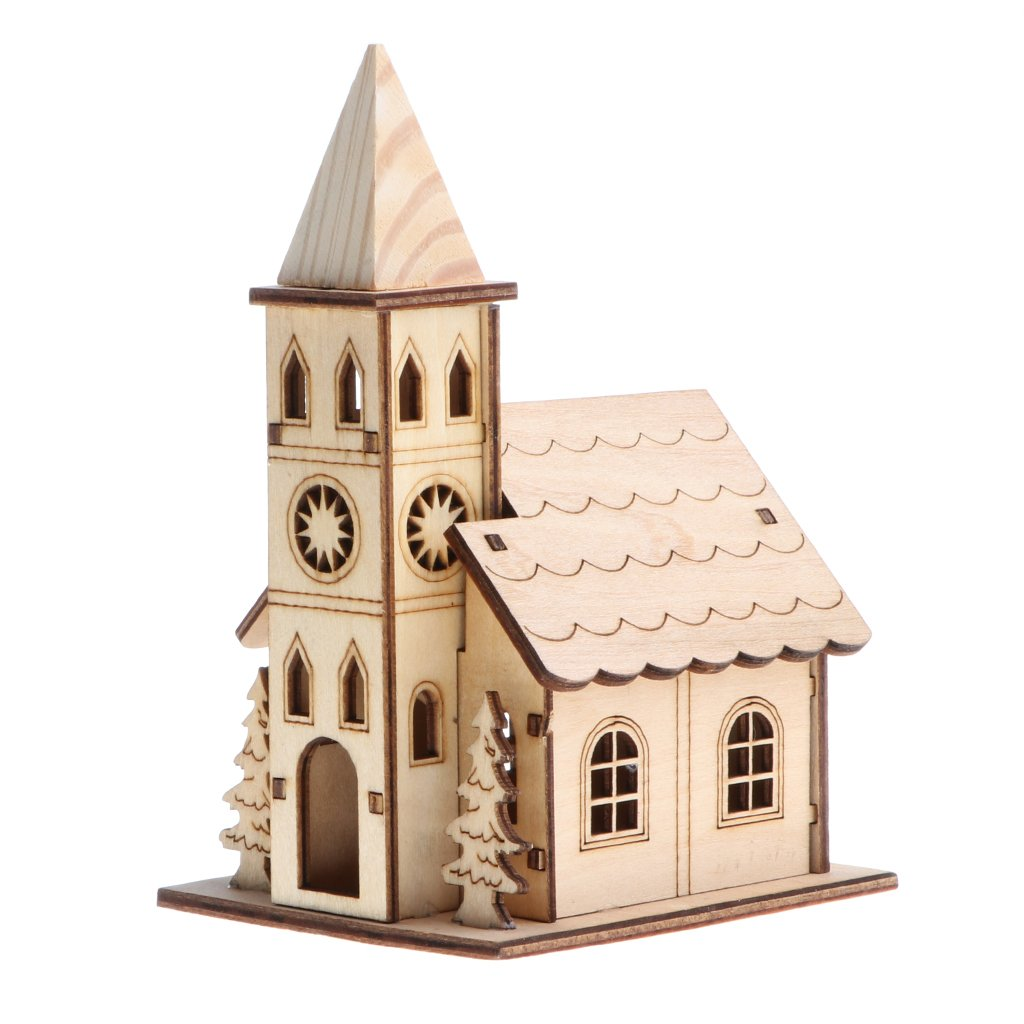 Homyl 3D Wooden Puzzle Jigsaw Assembly Model Belfry House Villa Christmas Dollhouse Construction Kit for Children Educational DIY Craft Toys #C