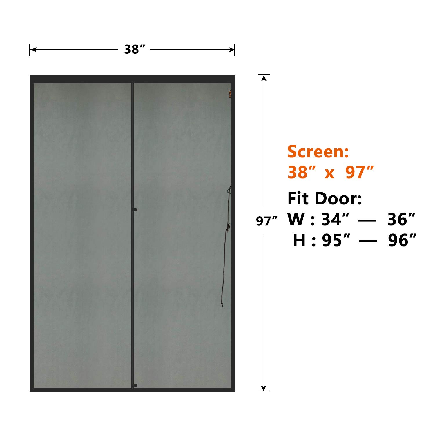 MAGZO Pet French Door Screen 72x80 inch Dog Cat Proof Pet-Resistant Thickening Durable Fiberglass Sliding Mesh Screen Curtain with Magnets Fits Door Size up to 72x80 Max
