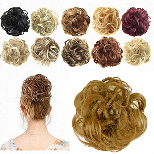 [FESHFEN Ponytail Extensions Hair Extensions Wavy Curly Messy Hair Bun Extensions Scrunchy Scrunchie Hair Bun Updo Hairpiece Donut Hair Chignons Hair Piece Wig - 27 Strawberry Blonde] (Strawberry Wig)