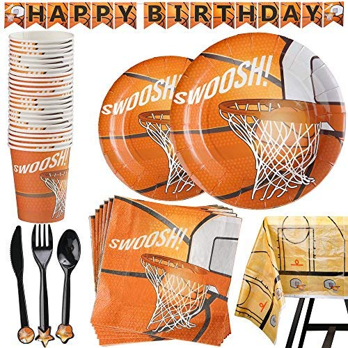 - 177 Piece Basketball Party Supplies Set Including Banner, Plates, Cups, Napkins, Cutlery, and Tablecloth, Serves 25
