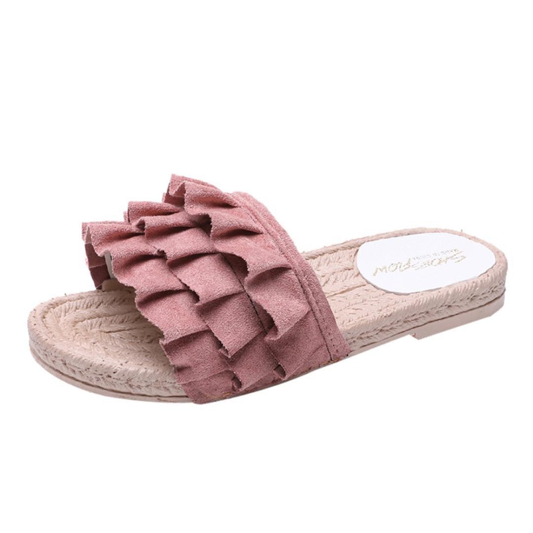 hausschuhe damen pantolette, FEITONG Sommer Slip-on Hausschuhe Komfort Sandaletten Spitze Zehentrenner Hausschuhe Pantoletten Einfarbig StrandschuheCN:40|Rosa