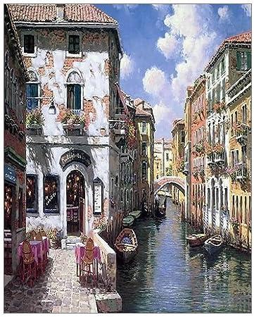 White Mat 11 x 14 Painting Marine Street Market Original Watercolor Painting Wall Decor Black Frame Venice Watercolor Painting