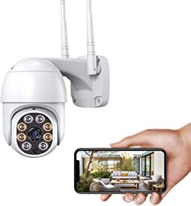 FUVISION Security Camera Outdoor, WiFi PTZ IP Camera, Auto Tracking,2.4GHZ WiFi Two Way Audio,1080P HD Pan Tilt Full Color Night Vision IP66 Waterproof Surveillance Camera(NO Battery)