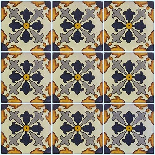 Ceramic Talavera Mexican Tile 4x4'', 9 Pieces (NOT Stickers) A1 Export Quality! EX-62 by DRT TALAVERA