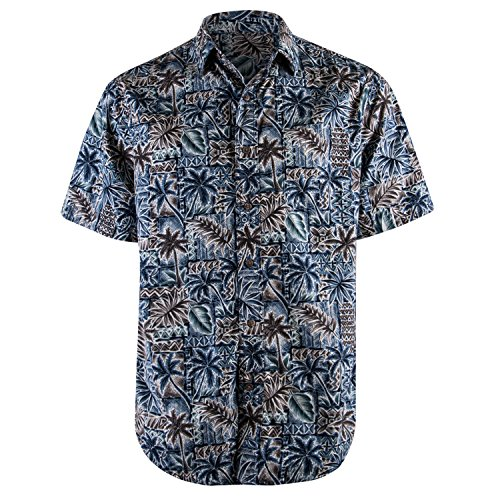 Campia Men's Cotton Print Shirt (Blue 17, (Tribal Button Down Shirt)
