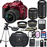 Nikon D5500 (RED) DX-format Digital SLR w/ AF-P DX NIKKOR 18-55mm f/3.5-5.6G VR and 70-300mm F/4-5.6G DX Lens + 32GB Memory Accessory Bundle