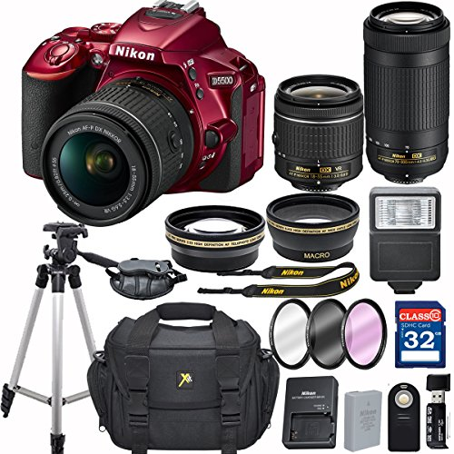 Nikon D5500 (RED) DX-format Digital SLR w/AF-P DX NIKKOR 18-55mm f/3.5-5.6G VR and 70-300mm F/4-5.6G DX Lens + 32GB Memory Accessory Bundle