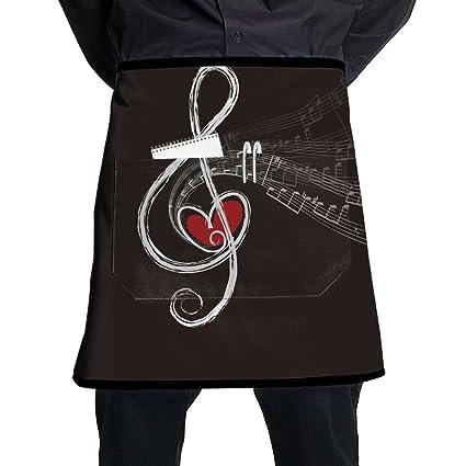 Delantal Corto de Cintura con Bolsillos y Notas Musicales para Cocina, Cocina, Cocina,