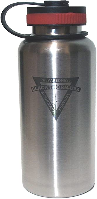 Amazon Com Blackthorn Bottle 32oz Stainless Steel Wide Mouth Water Bottle Sports Outdoors