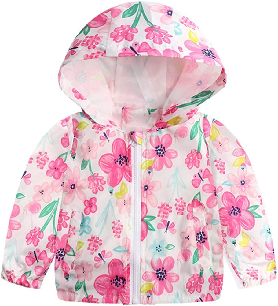 Rosiest Toddler Kids Baby Grils Boys Long Sleeve Cartoon Print Hooded Coat Tops Outfits