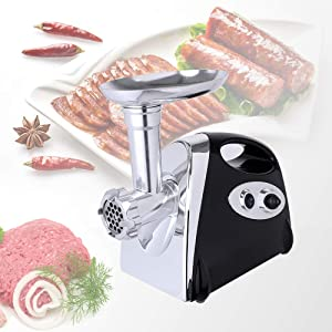Electric multifunctional meat grinder, sausage stuffer, maximum power 2800W, equipped with various tools, ETL certification, easy to clean (black)