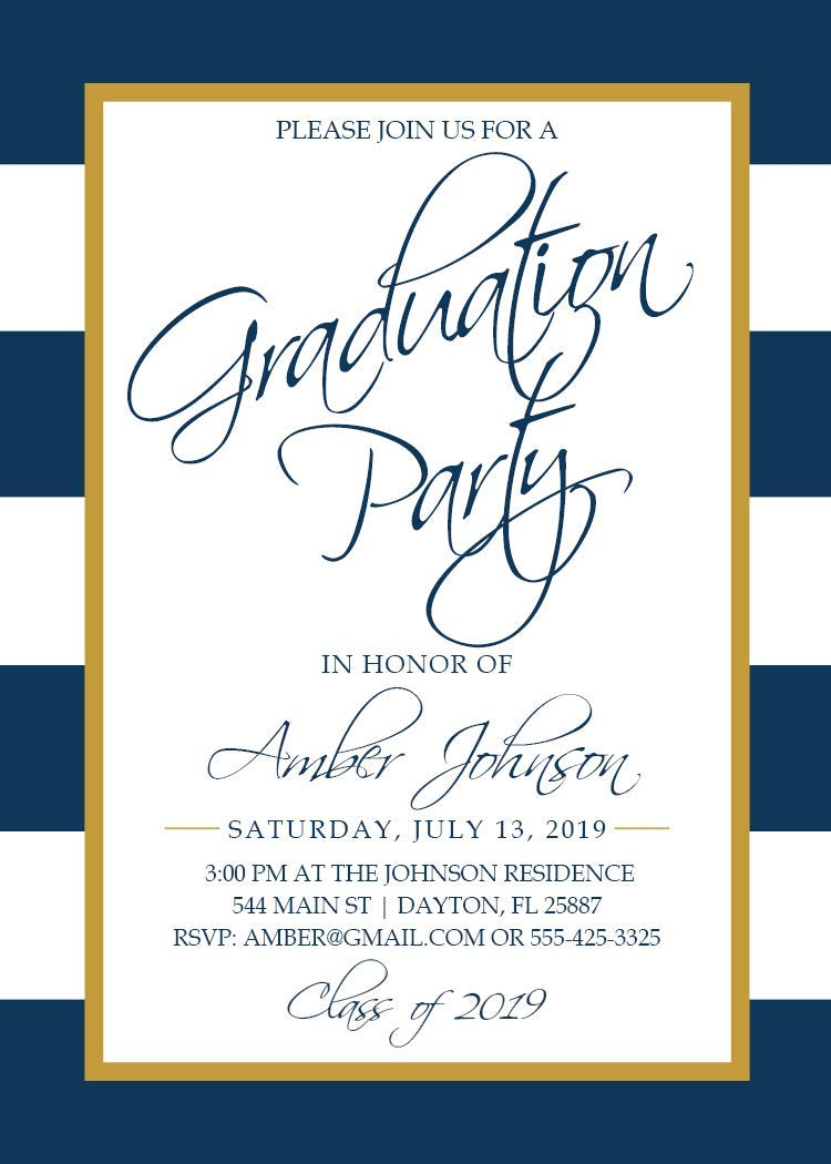 Graduation Party High School Class of 2019 Navy and Gold College Graduation Party Invitation Graduation Invitation