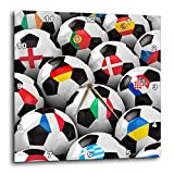 3dRose dpp_155022_3 England Germany Portugal Spain, DM, Czech Republic Italy France Greece Ukraine Flags Soccer Balls Wall Clock, 15 by 15-Inch