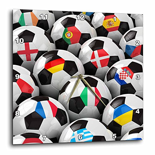 3dRose dpp_155022_3 England Germany Portugal Spain, DM, Czech Republic Italy France Greece Ukraine Flags Soccer Balls Wall Clock, 15 by 15-Inch by 3dRose